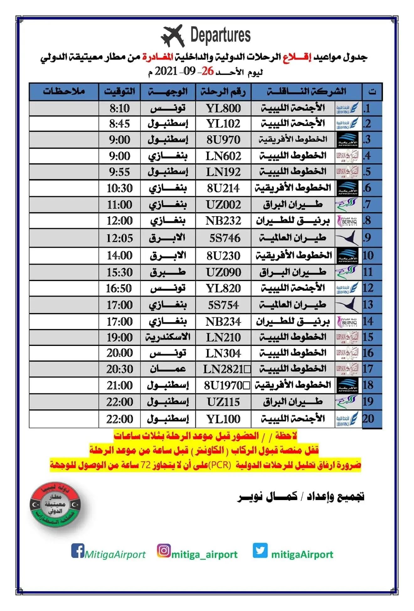 رحلات مطار معيتيقة الدولي الأحد 26-09-2021م