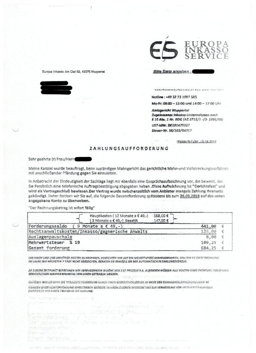 Zahlungsaufforderung Durch Europa Inkasso Verbraucherdienst Ev