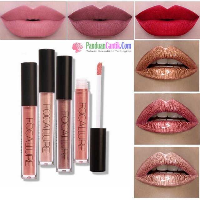 FOCALLURE Matte Metallic Lip Gloss - Video Daftar Merk Lipstik Warna Metalik Terbaik Yang Bagus Tahan Lama dan Murah Harganya