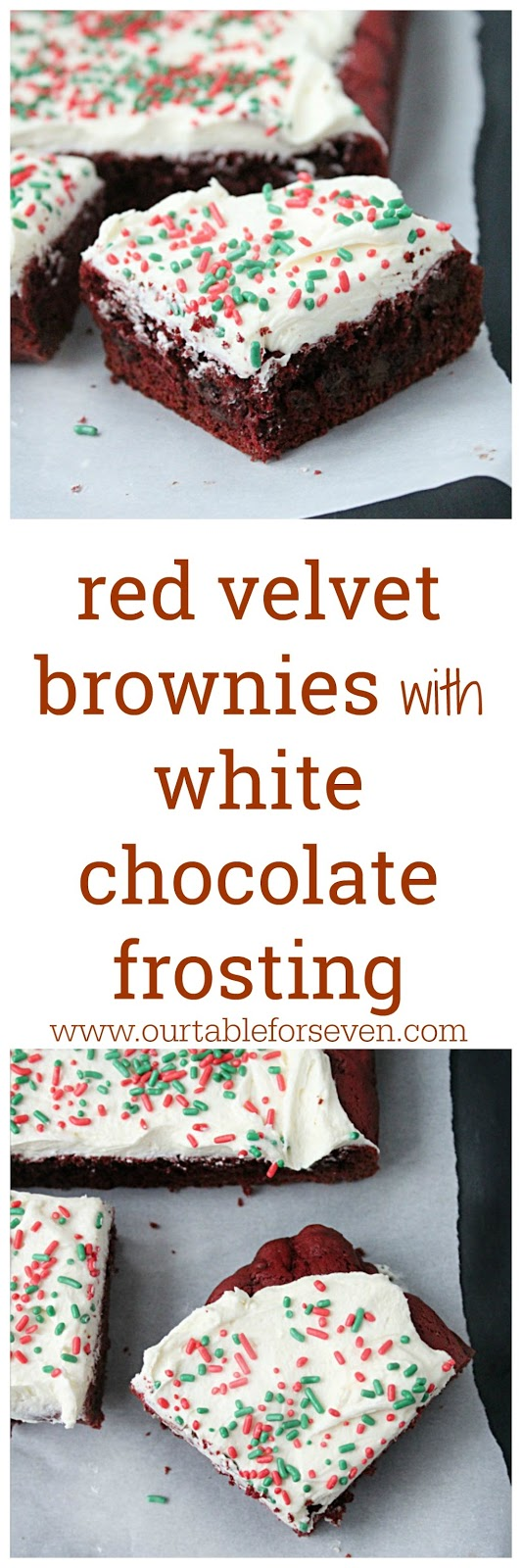 Red Velvet Brownies with White Chocolate Frosting from Table for Seven