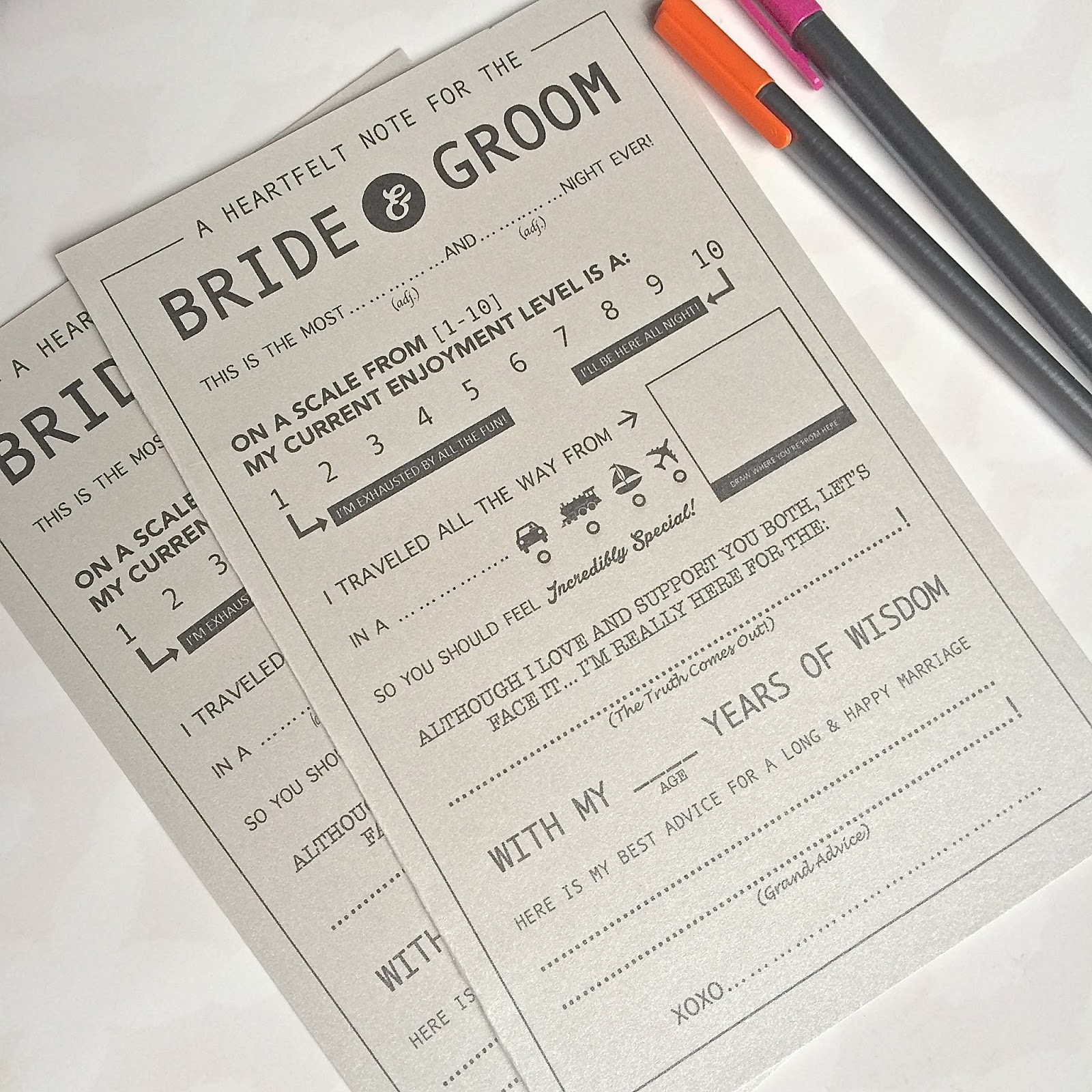 Life As You Live It Wedding Mad Libs
