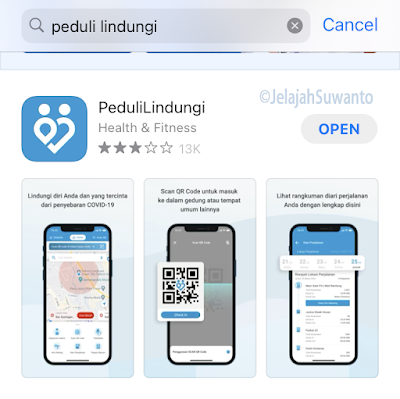 Unduh aplikasi PeduliLindungi dari App Store atau Play store |JelajahSuwanto
