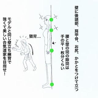 武道も美も姿勢が大事なので壁立ち練習