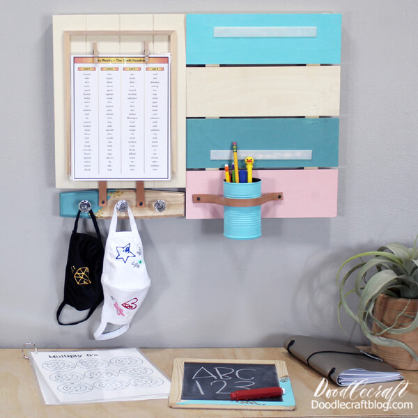 Pull the chalkboard off the command center to practice writing letters or simple math problems. Hang up flash cards, lists of words to spell or memorize. Fill the cup with office supplies.