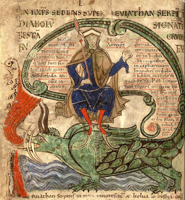O Anticristo sentado sobre a serpente Leviatã, Liber Floridus (por volta de 1120), p135