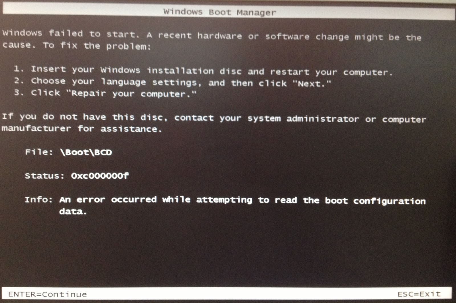 How to fix boot error 0xc000000f in Windows Server 2008