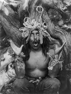 Picture of a Hamatsa ritualist shaman during a ritual, taken in 1914