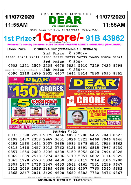 Sikkim State Lottery Sambad 11-07-2020 Today Result 11.55 AM