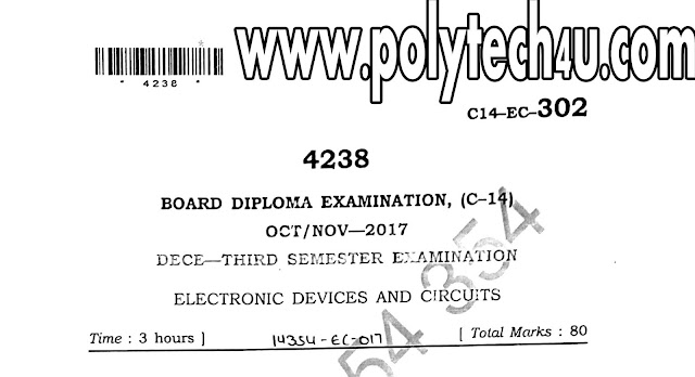 C-14 ECE DIPLOMA ELECTRONIC DEVICES AND CIRCUITS MODEL QUESTION PAPER 2017