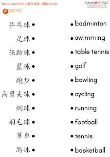MamaLovePrint 自製工作紙 - 認識不同的運動工作紙 Set 1 幼稚園 常識 體育科 Sports Worksheets Vocabulary Exercise for Kindergarten School Printable Freebies Daily Activities