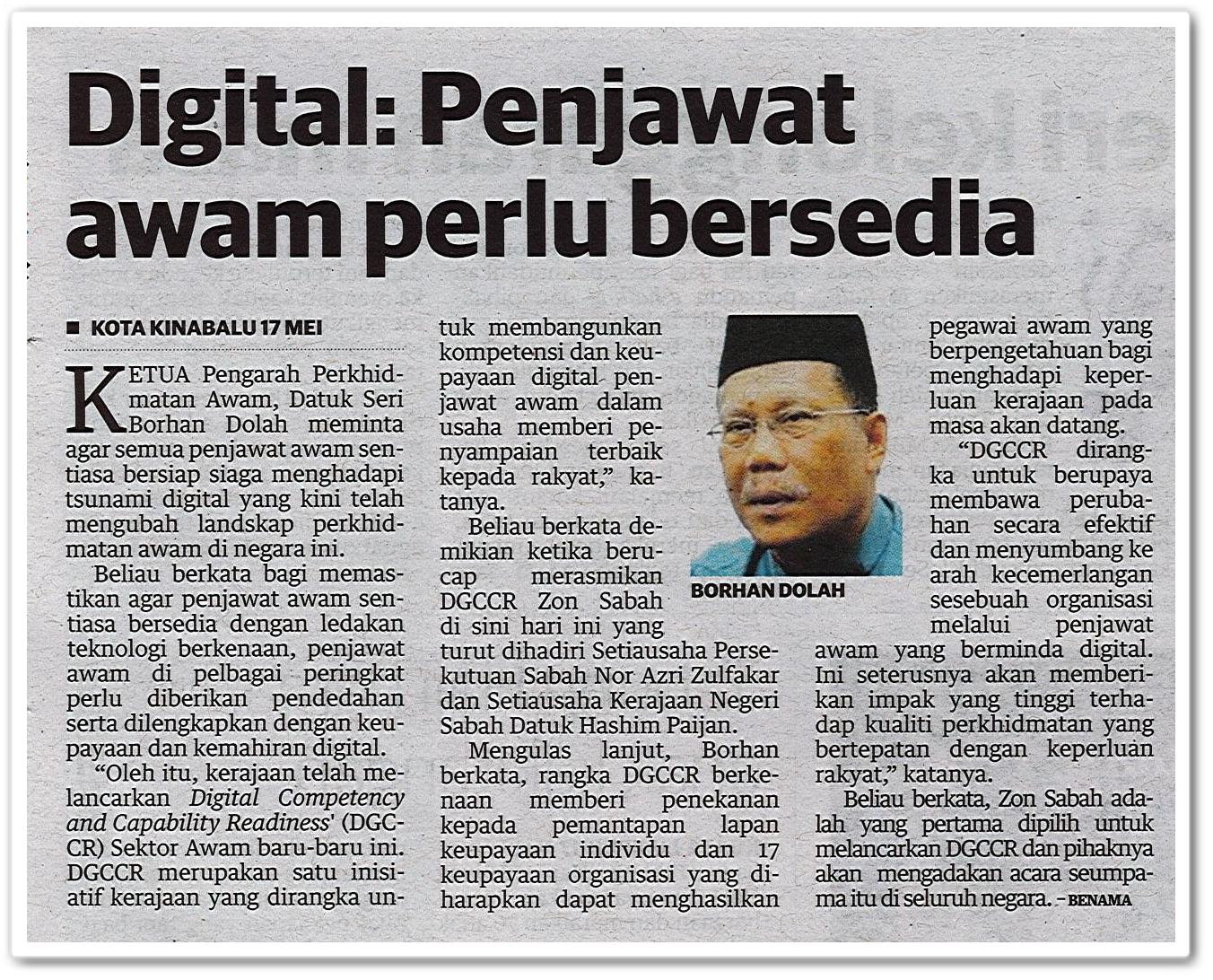 Digital : Penjawat awam perlu bersedia - Keratan akhbar Utusan Malaysia 18 Mei 2019