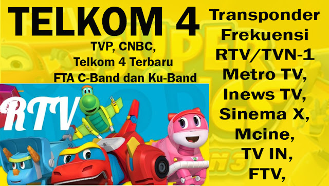 Transponder Frekuensi RTV/TVN-1 Metro TV, Inews TV, Sinema X, 2020, Mcine, TV IN, FTV, TVP, CNBC, Telkom 4 Terbaru FTA C-Band dan Ku-Band
