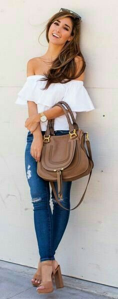 summer boho style obsession: top + skinny jeans + heels + bag