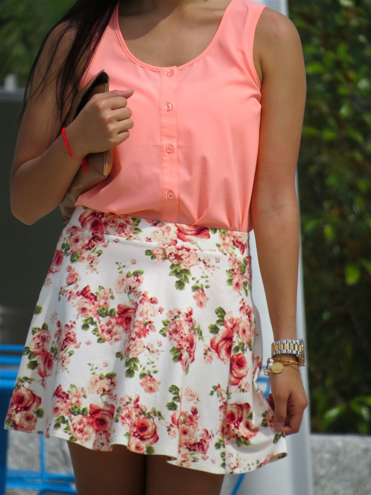Pink top with floral skirt
