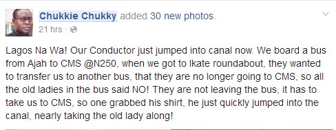 Lol. Conductor jumps into canal after passengers dragged him for changing route
