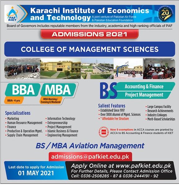 Karachi Institute Of Econimics & Technology Karachi Admissions