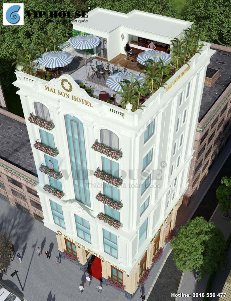 Hình ảnh: Phối cảnh từ trên cao xuống ngoại thất khách sạn tân cổ điển La MaiSon