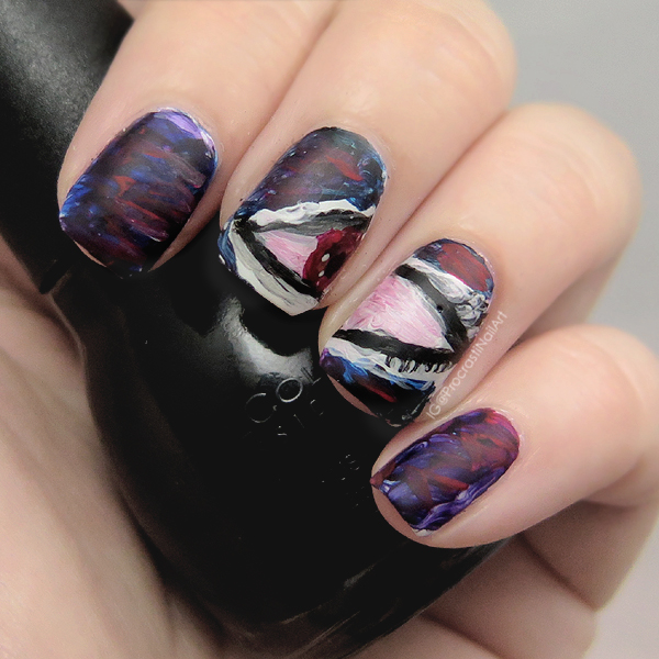 Sexy Vampy Freehanded Eye Nail Art