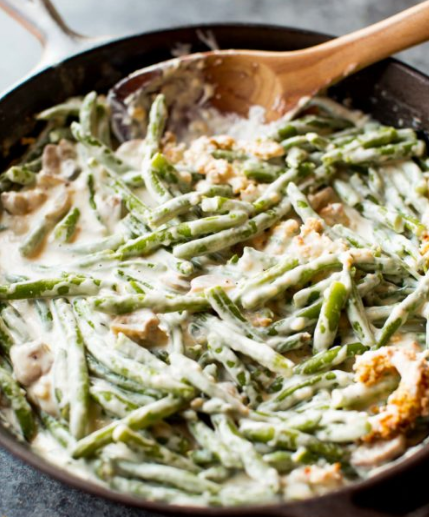 Creamy Green Bean Casserole from Scratch #vegetarian #easy #food #dinner #casserole