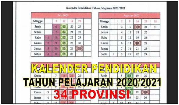 Download Kalender Pendidikan 34 Provinsi T A 2020 2021 Pdf Lengkap Journalindonesia