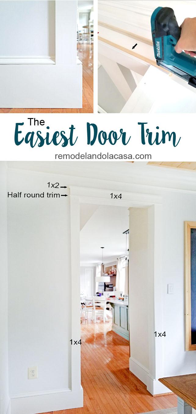 work the trim around doorways with Makita pin nailer and Dremel Oscillating tool