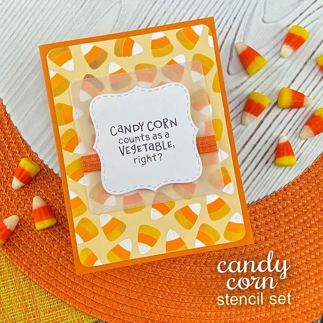Candy Corn Card by Jennifer Jackson   Candy Corn Stencil Set by Newton's Nook Designs