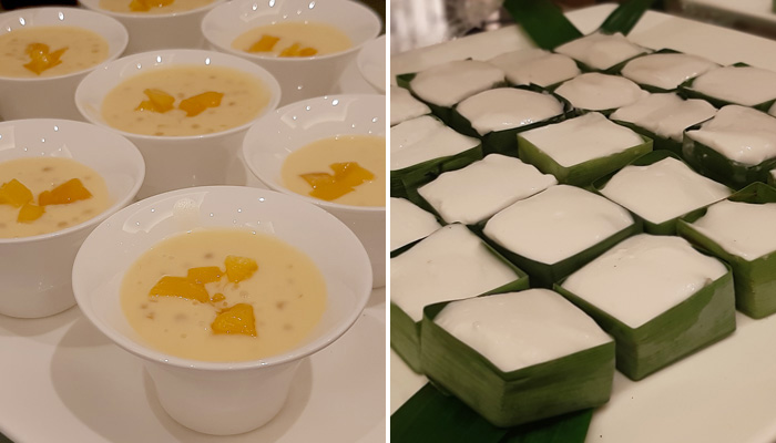 (l) Mango Sago (r) Thai Coconut Pudding with Water Chestnut