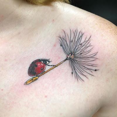 shoulder Ladybug On Leaf Tattoo