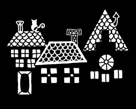 Fekete-fehér digitális rajz, sötét, éjszakai háztetőkön ülő, kilenc életű, éles karmú kóbor macskát ábrázol hátulról, ahogy a holdat nézi.