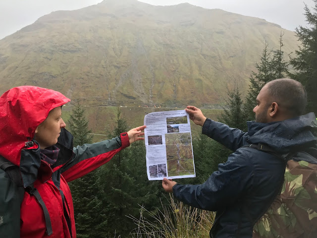 Dr Claire Dashwood and Dr Nikhil Nedumpallile Vasu comparing the debris flows that happened in 2007 with that from October 2018