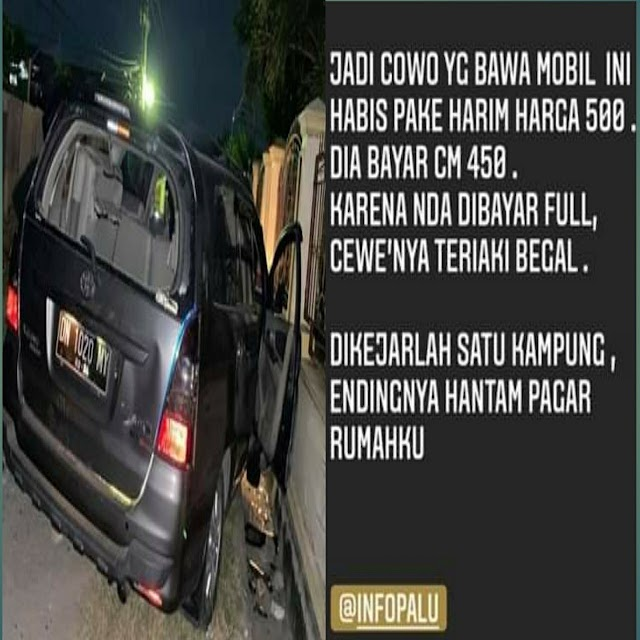 Akibat Uang 50 Ribu, Mobil Pria ini Menabrak Pagar Rumah Warga di Kota Palu