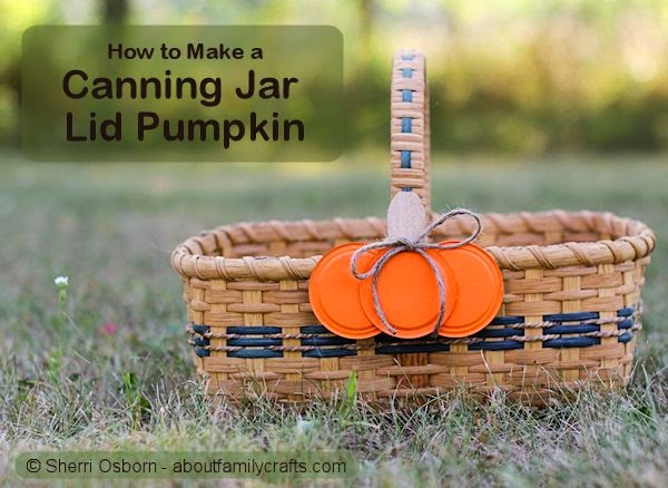 http://aboutfamilycrafts.com/canning-jar-lid-pumpkin-craft/