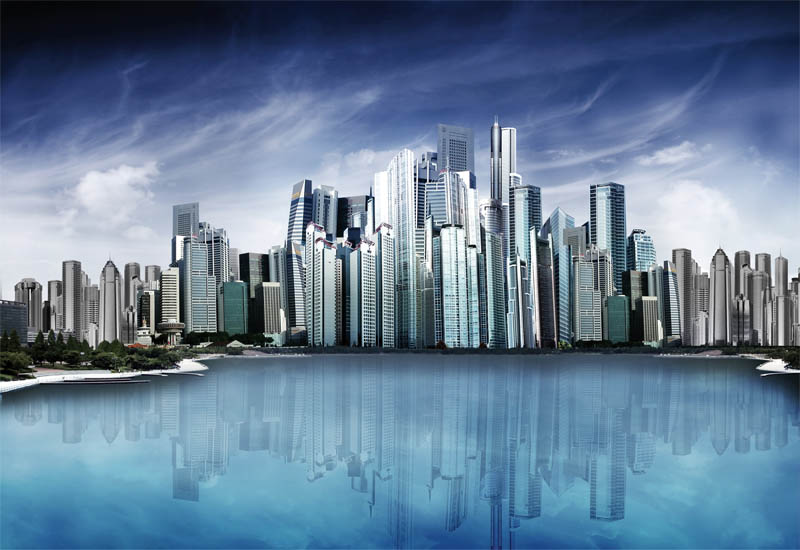 water clouds cityscapes futuristic - photo #26
