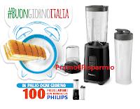 Logo Kinder e Parmalat #Buongiornoitalia : ogni giorno 100 frullatori con borraccia Philips