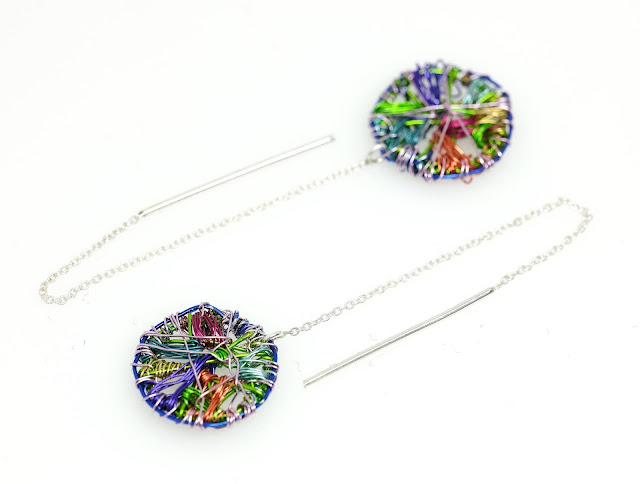 Colorful circle, contemporary earrings