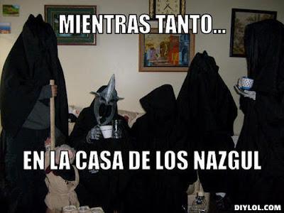 Meme de humor del libro El señor de los anillos de Tolkien con Nazgûl