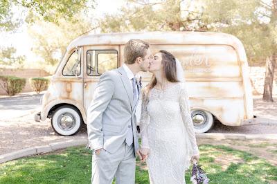 bride and groom with metro van