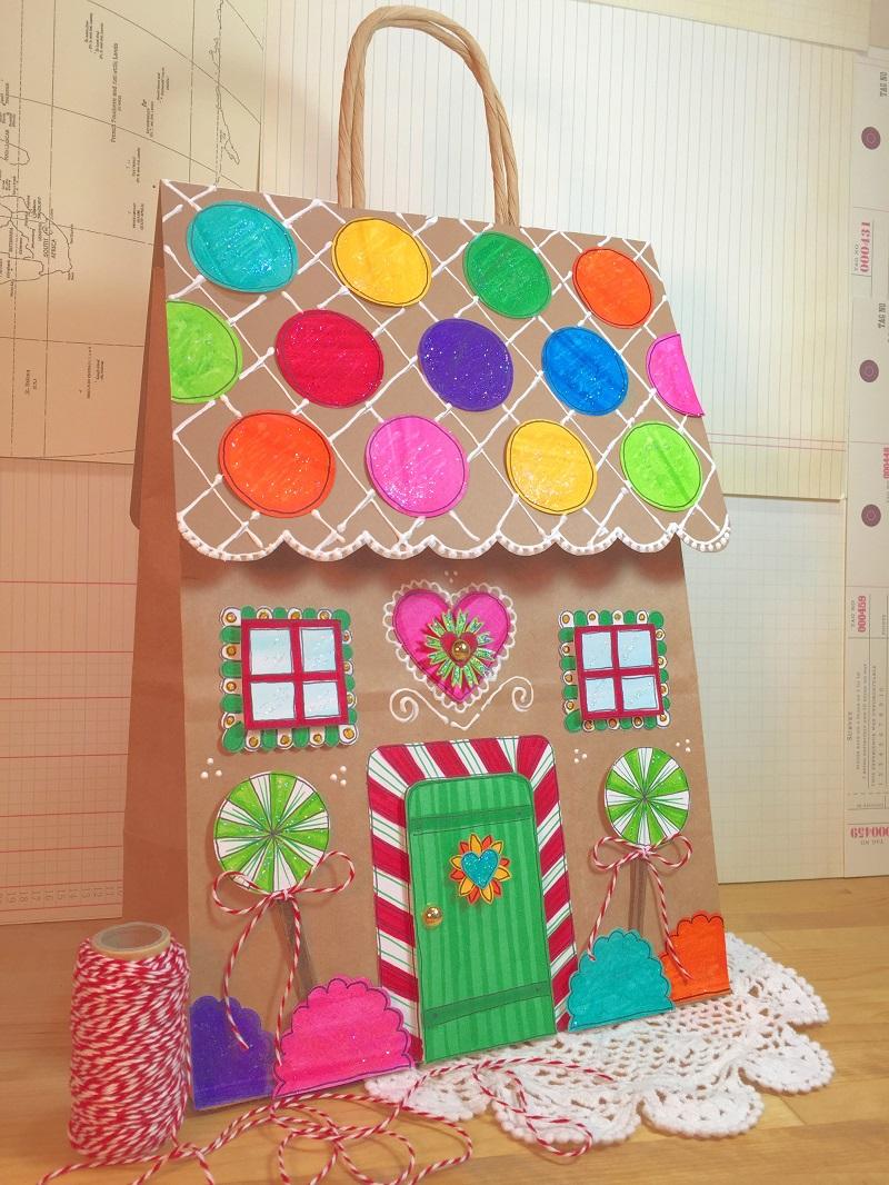 Gingerbread House Fabric Gift Bag Small Christmas Gift Bag