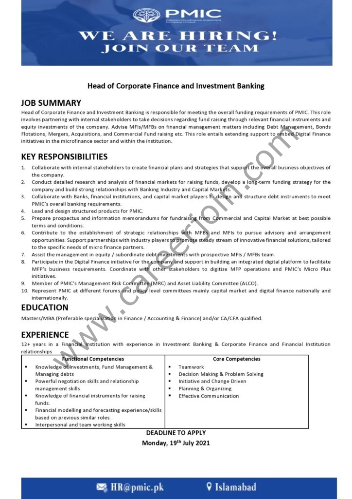 Pakistan Microfinance Investment Company PMIC Jobs Head of Corporate Finance & Investment Banking