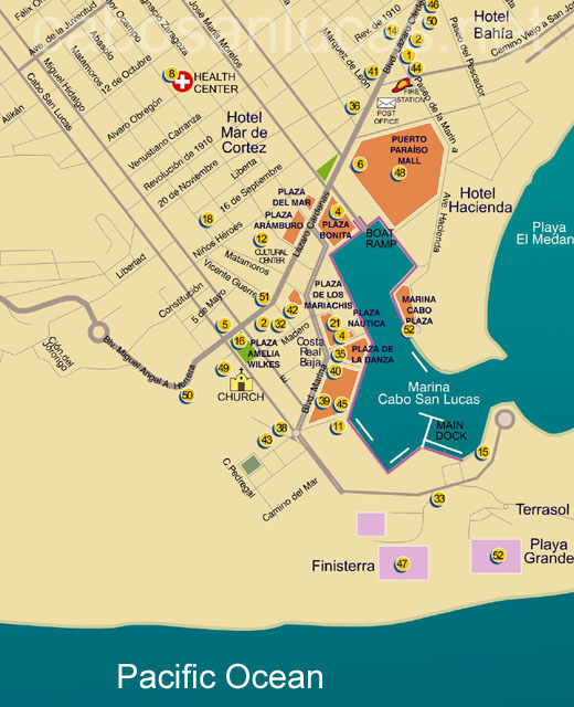watch tv life: Map of Cabo San Lucas City Area