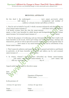 specimen affidavit for change in name/deed poll/sworn affidavit