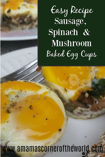 pinnable image for sausage spinach and mushroom baked egg cups recipe