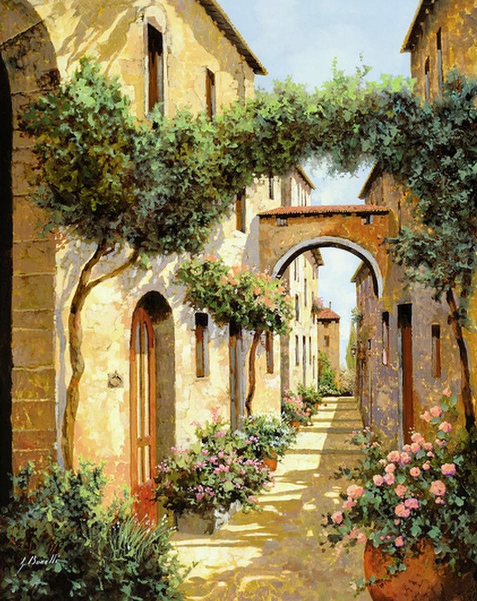 Cuadros modernos pinturas y dibujos cuadros al leo de - Casas viejas al oleo ...