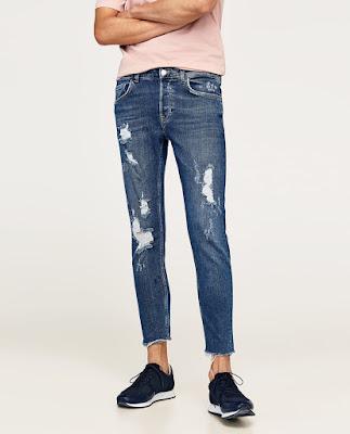 Kısa paçalı, eskitilmiş detaylı skinny jeans