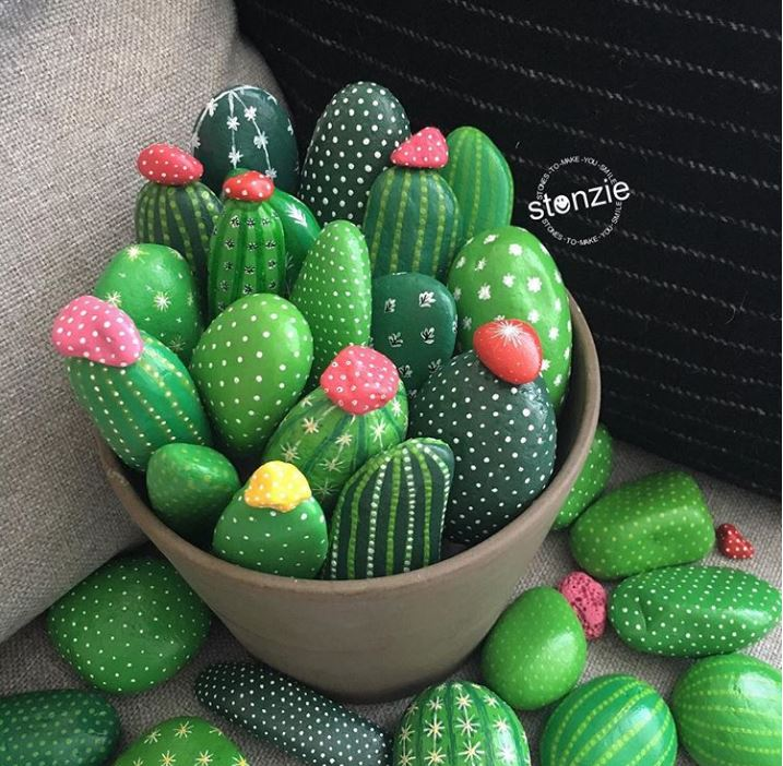 How to make a DIY painted rock cactus garden