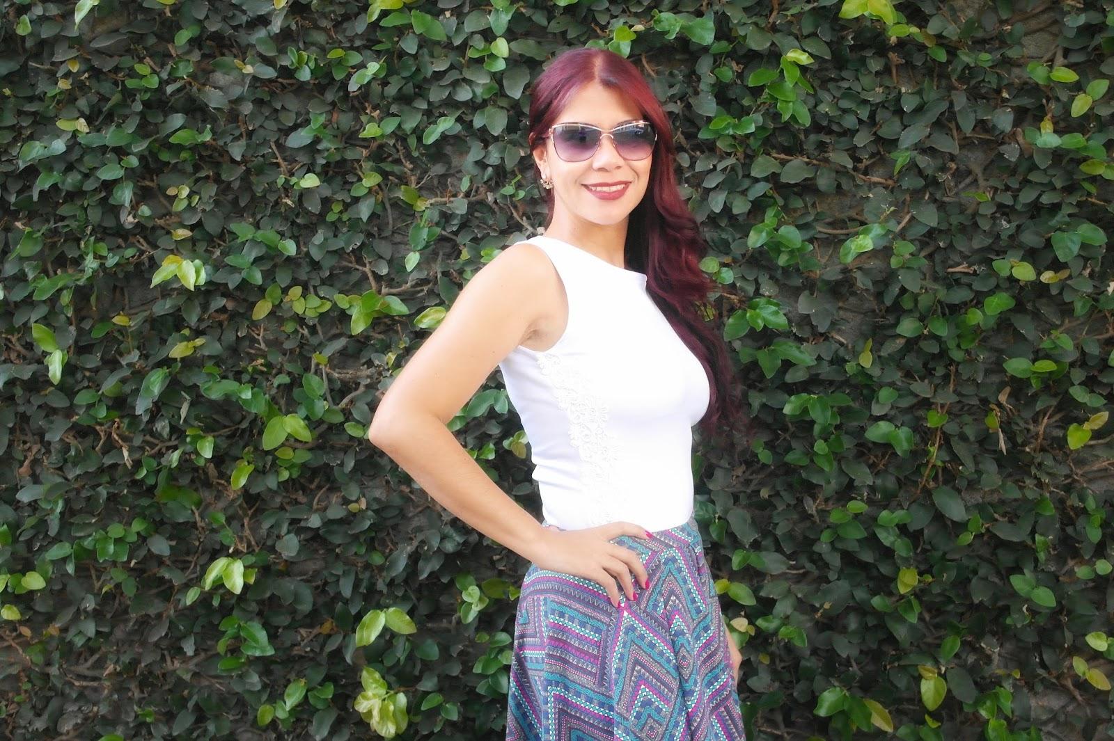 Look do Dia  saia Gode com Blusa de Guipir blog estilo modas e manias