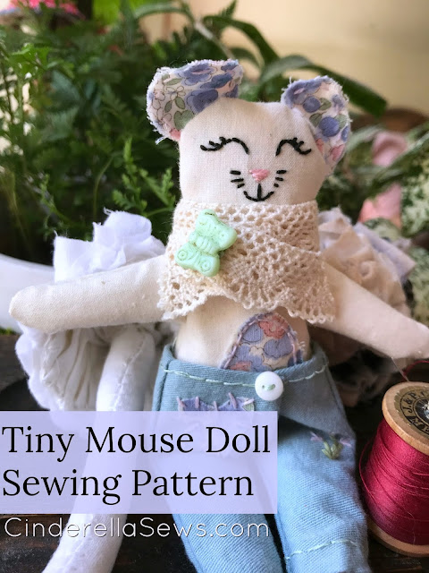 Doll scarf and brooch tutorial to make your tiny cloth dolls cute and fashionable! An easy doll making craft for kids and adult crafters alike. #dollmaking #clothdoll #tinydoll #handmadedoll #sewing #miniatures