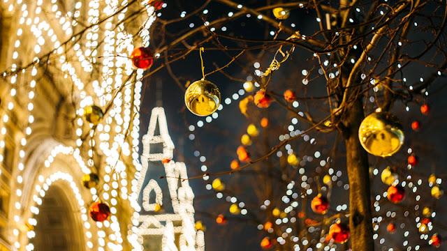 bauble ornaments in street tree