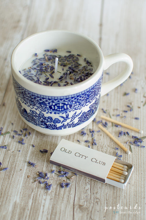 diy candle made in vintage teacup