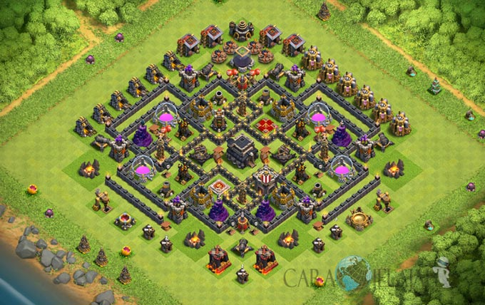 Base Farming TH 9 COC Update Bomb Tower Terbaru 2017 Tipe 12